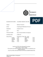 Sample of Object Oriented Software Development Exam (June 2006) - UK University BSc Final Year