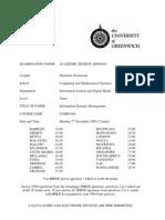 Information Systems Management Exam December 2009 - UK University BSc Final Year