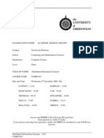 Distributed Information Systems Exam December 2006 - UK University BSc Final Year
