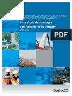 Liste Et Prix Des Ouvrages Des Infrastructures 2013-2016