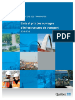 Liste Et Prix Des Ouvrages Des Infrastructures 2018-2019