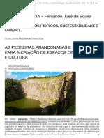 As Pedreiras Abandonadas e Seu Uso Para a Criação de Espaços de Lazer e Cultura _ Água, Vida & CIA – Fernando José de Sousa
