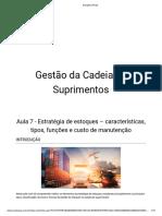 Aula 7 - Estratégia de estoques – características, tipos, funções e custo de manutenção