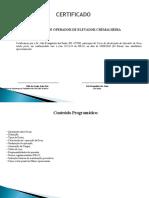 Certificado de treinamento de Operador de Grua