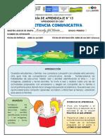 GUIA 13 COMPETENCIA COMUNICATIVA GRADO PRIMERO