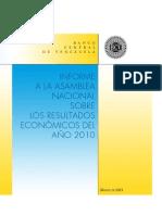 Informe BCV a la Asamblea Nacional. Año 2010