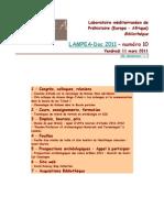 LAMPEA-Doc 2011 – numéro 10 / Vendredi 11 mars 2011