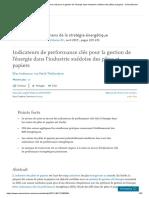 Indicateurs de performance clés pour la gestion de l'énergie dans l'industrie suédoise des pâtes et papiers - ScienceDirect