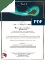 JOALI Maldives Vacancy_Recreation Attendant