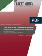 L'AUDIT SOCIAL . UN OUTIL D'AMÉLIORATION DE LA QUALITÉ DU PILOTAGE SOCIAL