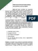 ANÁLISE E INTERPRETAÇÃO DE TEXTOS PUBLICITÁRIOS