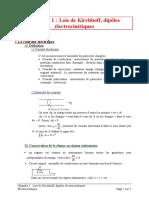 01 Lois de Kirchhoff, Dipôles Électrocinétiques