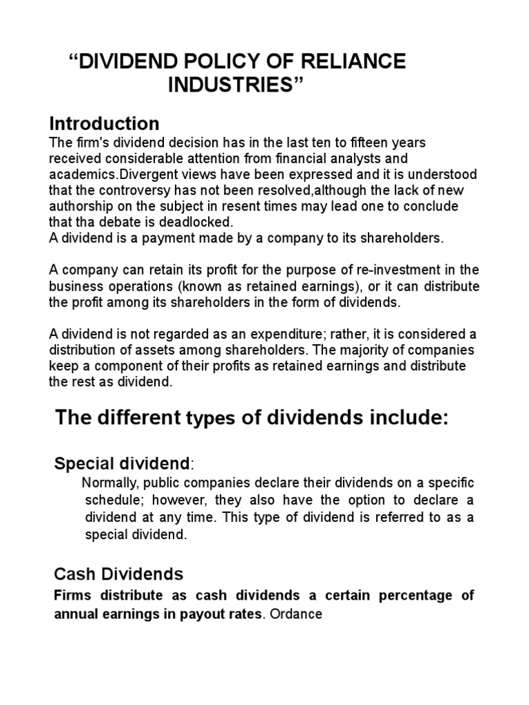 essays on paying dividends Stock valuation essay is one of the most basic of the absolute valuation models the dividend it is not enough for the company to just a pay dividend.