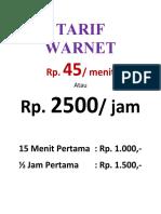 Tarif Warnet