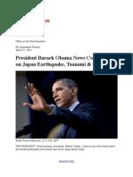 President Barack Obama News Conference on Massive Japan Earthquake, Tsunami & Gas Prices in America