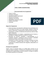Organigramas, competencias, etapas y principios de la organización.
