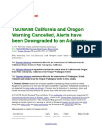 TSUNAMI California and Oregon Warning Cancelled, Alerts Have Been Downgraded to an Advisory