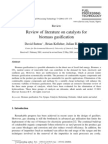 review of literature on catalysts for biomass gasification