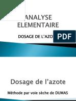 Dosage de l'Azote