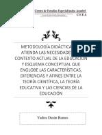 METODOLOGÍA DIDÁCTICA QUE  ATIENDA LAS NECESIDADES DEL  CONTEXTO ACTUAL DE LA EDUCACIÓN  Y ESQUEMA CONCEPTUAL QUE  ENGLOBE LAS CARACTERÍSTICAS,  DIFERENCIAS Y AFINES ENTRE LA  TEORÍA CIENTÍFICA, LA TEORÍA  EDUCATIVA Y LAS CIENCIAS DE LA  EDUCACIÓN