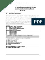 Menciones obligatorias en las producciones audiovisuales y fichas tecnicas