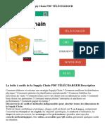 La Boîte à Outils de La Supply Chain PDF TÉLÉCHARGER Description
