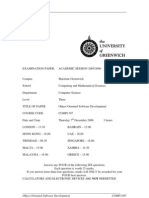 Sample of Object Oriented Software Development Exam (Dec 2006) - UK University BSc Final Year
