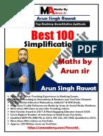 Best 100 Simplification Maths by Arun Sir