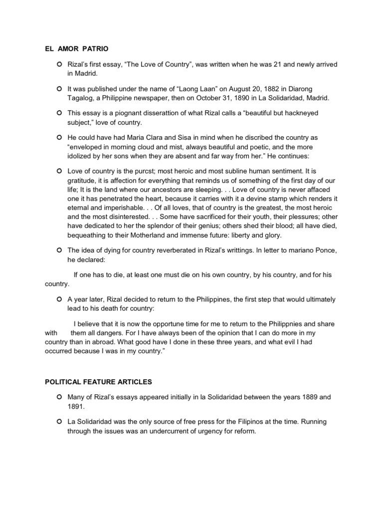 Cultural Diversity Essay Topics El Amor Patrio Essay Rizal     El Amor Patrio Essay Rizal Essay To Get Into Nursing School also Drugs Essays Essay My Country Essays On Beloved Essays On Beloved Aqua Ip Essays  College Essay Editing Services