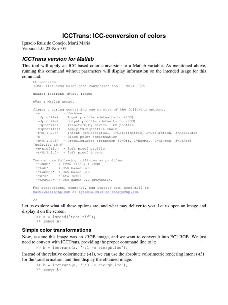 icctrans matlab | Scientific Modeling | Artistic Techniques