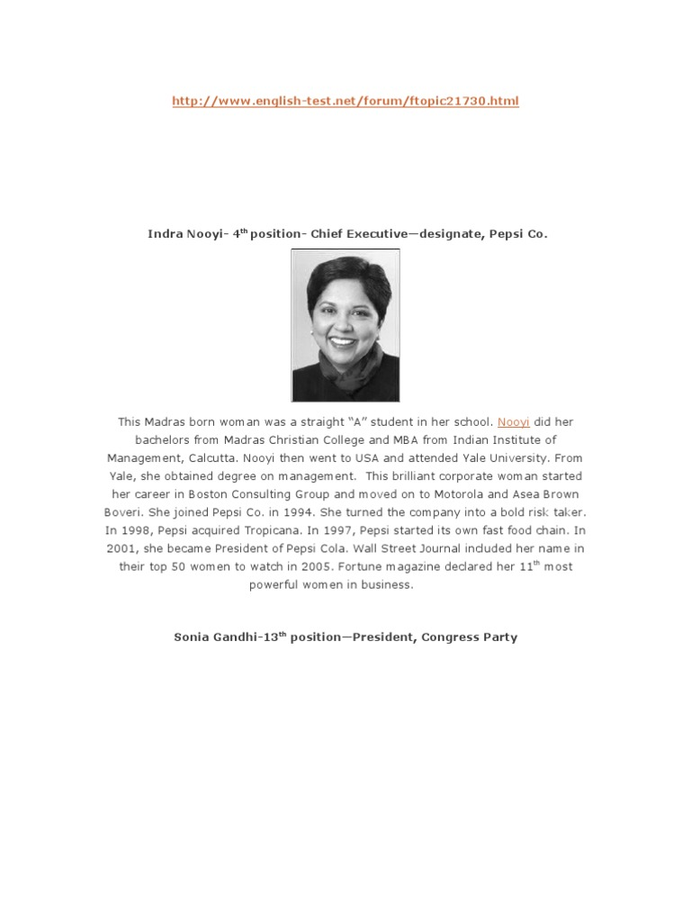 Colorful Indra Nooyi Resume Gift - Example Resume and Template Ideas ...