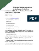 LEY N° 29701 - Ley de Beneficios para las Juntas Vecinales.