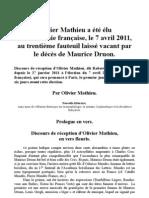 Olivier Mathieu a été élu à l'Académie française