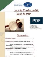 l'Impact de l'Ordre Public Dans Le DIP