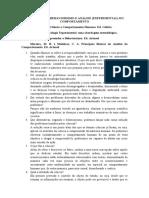 EERCÍCIOS DE BEHAVIORISMO E ANÁLISE (EXPERIMENTAL) DO COMPORTAMENTO