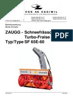 zaugg SF65E manuel utilisation fr