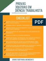 Checklist as Provas Produzidas Na Audiência Trabalhista