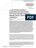 Levels of heavy metals in wastewater and soil samples from open drainage channels in Nairobi, Kenya