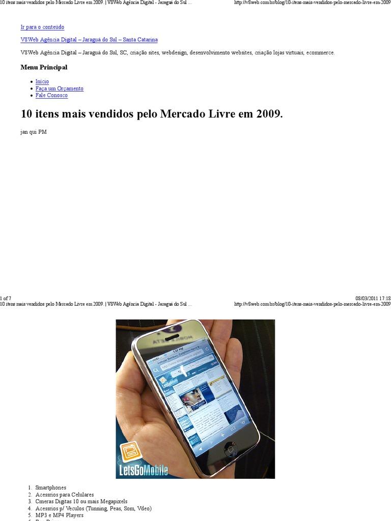 10 Itens Mais Vendidos Pelo Mercado Livre Em 2009
