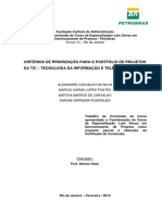CRITÉRIOS DE PRIORIZAÇÃO PARA O PORTFÓLIO DE PROJETOS DA TIC – TECNOLOGIA DA INFORMAÇÃO E TELECOM