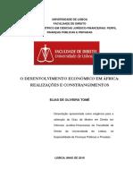 O DESENVOLVIMENTO ECONÓMICO EM ÁFRICA- REALIZAÇÕES E CONSTRANGIMENTOS