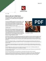 01-17-09 Salon-Obama Sells Out to Wall Street by David Sirota