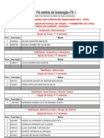2011-CLASSIFICACAO EDITAL DE VAGAS REMANESCENTES 1o SEMESTRE - 40 UFRJ