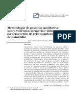 Metodologia de pesquisa qualitativa sobre violência - memória e informação na perspectiva de relatos autorais de homicídio