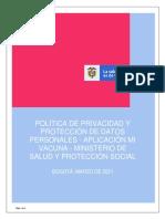 Politica de Privacidad y Protección de Datos de MiVacuna