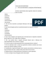 CIEN0004 - Lista de Exercicios No. 1 Materiais  e Ligações (2011.1)