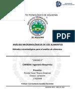 cuestionario de análisis microbiológico de los alimentos