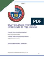 Colorado - Draft Analysis of Impediments To Fair Housing, 2011
