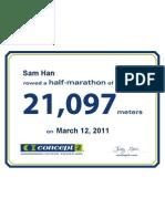 Concept2 2011 March 12 Half Marathon Certificate