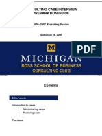 2006-2007 Michigan Ross CC Case Interview Preparation Guide